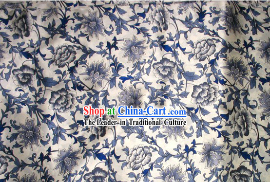 100% Pure White and Blue Procelain Silk Fabric