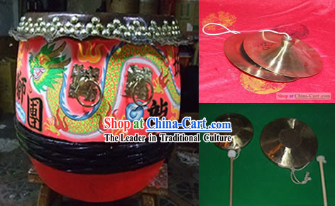 Dragon Dance Drum Drumsticks Cymbals and Gongs Instrument Set