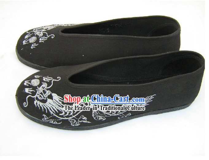 Chinese Hand Made Folk Dragon Black Cloth Shoes _ Men Dragon Shoes