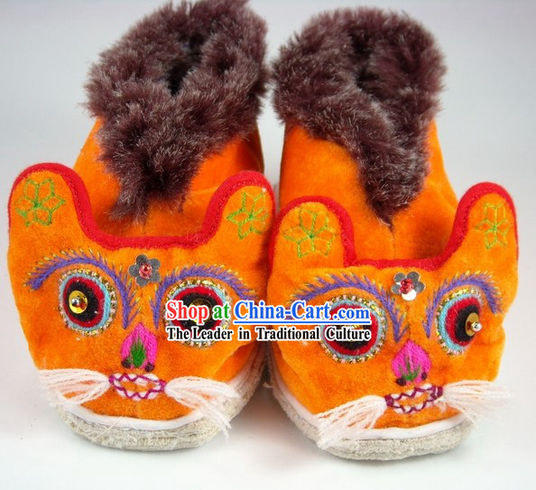 Kids Chinese Traditional Shoes / Handmade Winter Tiger Shoes