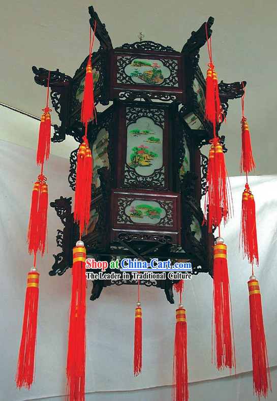 Chinese Oil Painting Palace Three Layers Ceiling Lantern