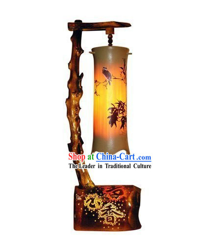 Chinese Hand Made Bamboo Desk Reading Lantern
