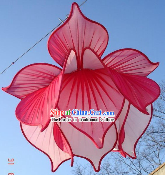Large Red Silk Lotus Ceiling Lantern