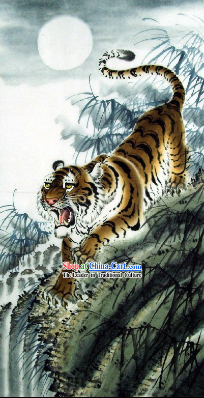 Traditional Chinese Tiger Painting by Wang Yongchang