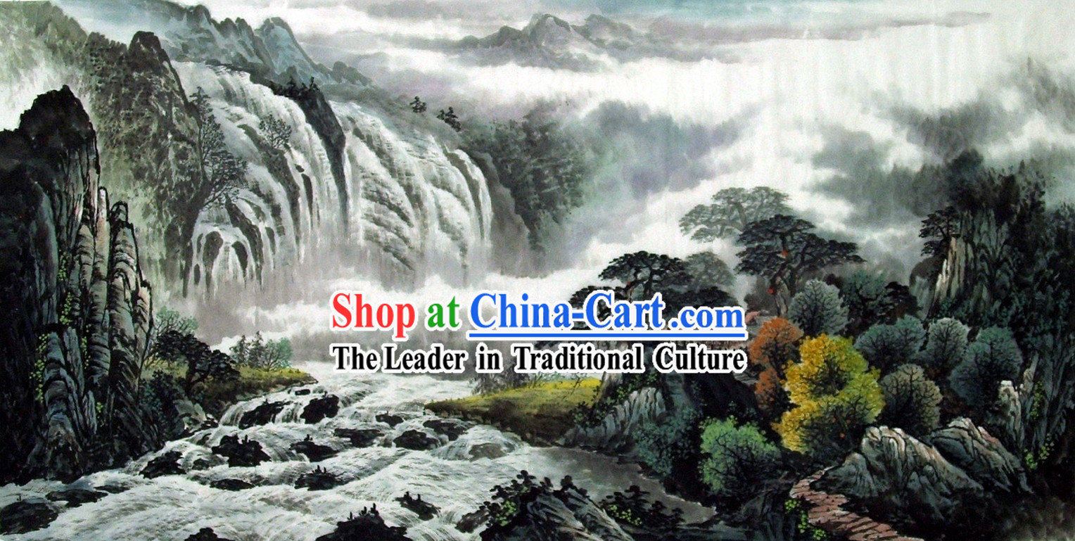 Traditional Chinese Painting - China Waterfall Scene by Wu Pingsong