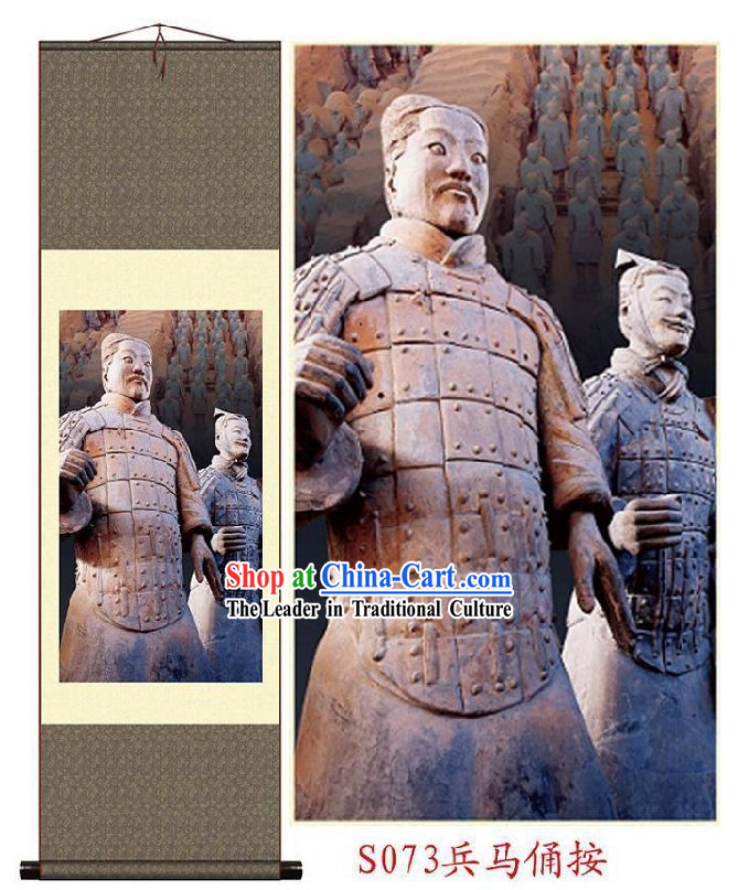 Chinese Silk Terra Cotta Warrior Painting