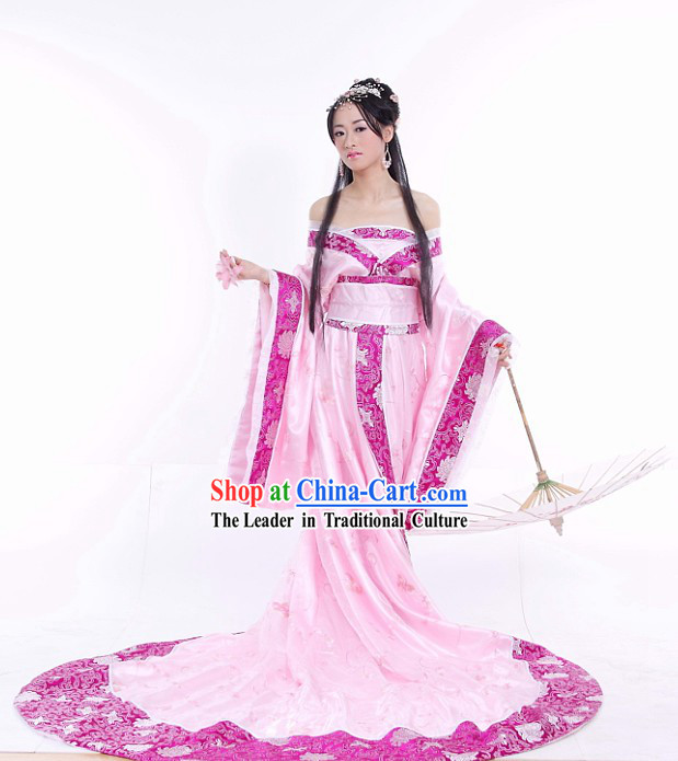 Chinese Traditional Long Tail Wedding Dress Complete Set