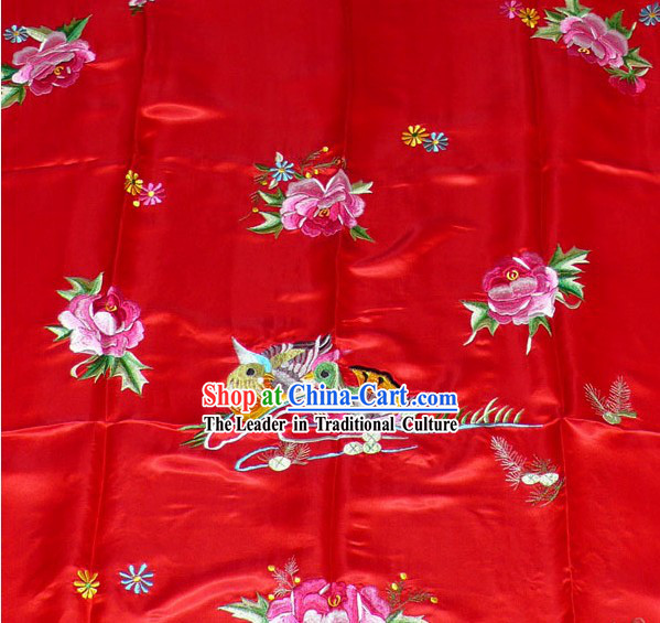 Chinese Hand Embroidery Bedcover-Mandarin Ducks and Peony