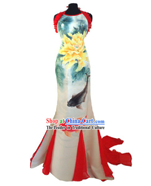 Traditional Phoenix Tail Wedding Cheongsam