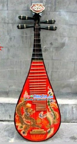 Traditional Handmade and Painted Dragon and Phoenix Wooden Lute