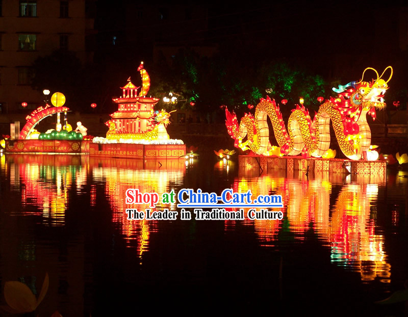 Traditional Chinese Handmade Electric Light up Large Dragon Lantern Whole Set