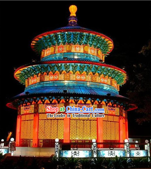 Traditional Chinese Handmade Electric Light up Temple of Heaven Lantern Set