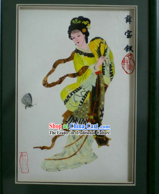 Handmade Real Butterfly Wings Painting - Xue Baochai in Dream of the Red Chamber