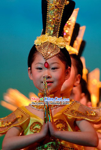 Chinese Ancient Palace Fei Tian Dance Costumes Complete Set for Children
