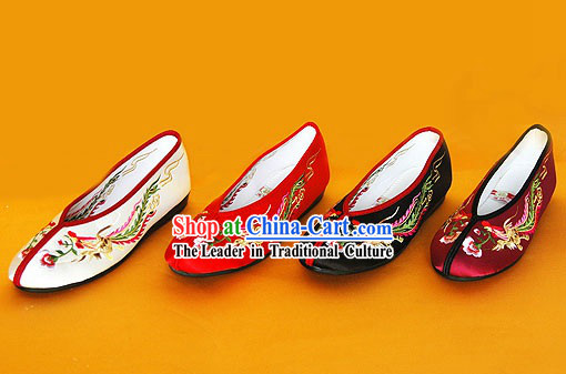 Chinese Traditional Handmade Embroidered Princess Satin Shoes _double phoenix_