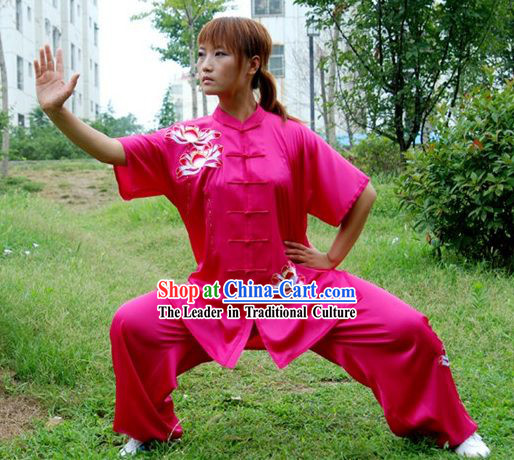 Chinese Professional Martial Arts Embroidered Lotus Silk Uniform Complete Set