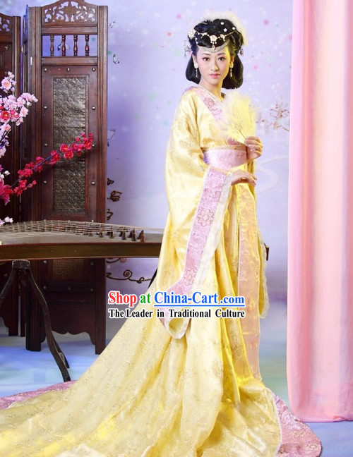 Chinese Classical Tang Dynasty Clothing Complete Set with Long Tail