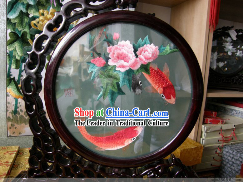 Chinese Double Sided Embroidery Fish Motif