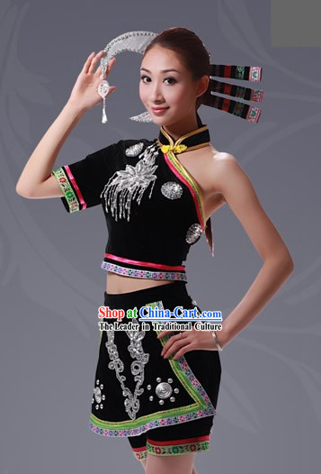 Chinese She Minority Costume and Hat Complete Set