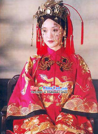 Supreme Chinese Bride Wedding Dress and Hair Accessories Complete Set