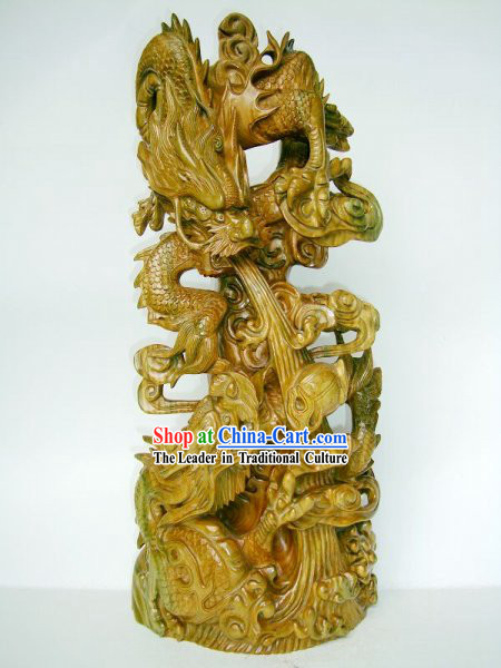 Chinese Handmade Wood Sculpture Collectible - Double Dragons Playing Ball