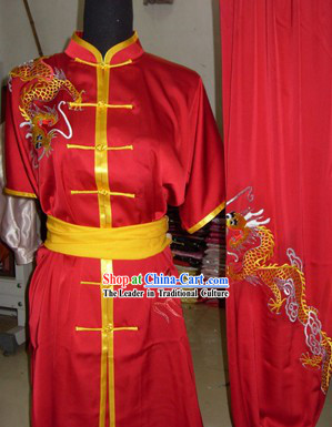 Pure Silk Embroidered Dragon Tai Chi Clothing for Men