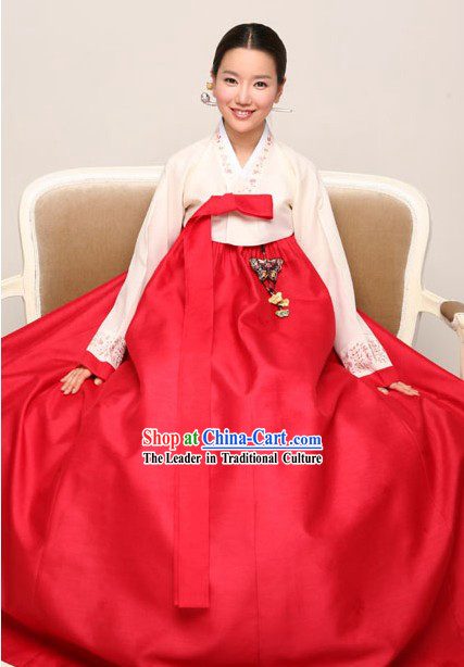 Traditional Korean Hanbok Complete Set for Women _red_