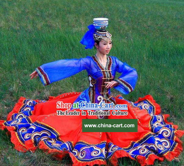 Chinese Traditional Mongolian Clothing and Hat Complete Set