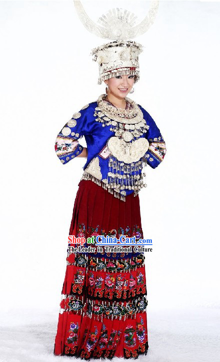 Chinese Ethnic Miao Clothing and Hat Complete Set