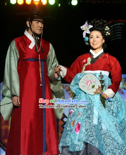 Ancient Korean Hanbok Clothing Two Sets for Men and Women