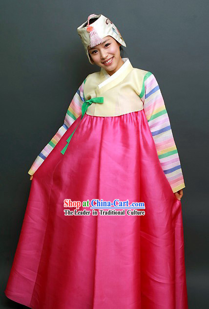 Traditional Korean Happy Festival Celebration Hanbok and Hat Set