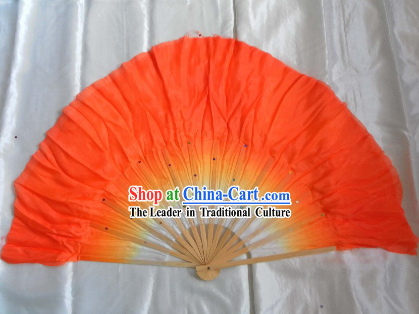 Supreme Bamboo Handle Chinese Traditional Silk Dance Fan (orange)