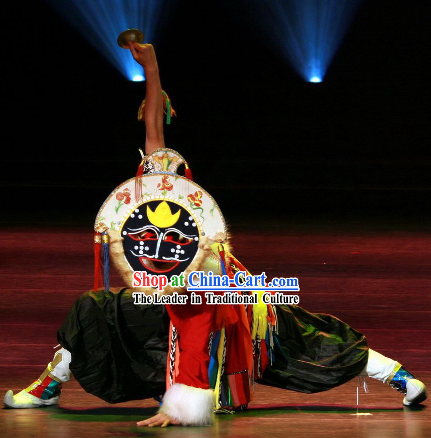 Chinese Tibetan Mask Dance Costume Set