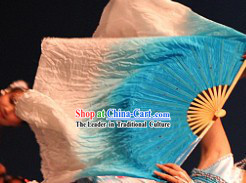 White to Blue Color Transition Silk Dance Fan