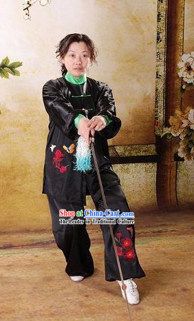 Traditional Butterfly Embroidery Silk Tai Chi Dress Set