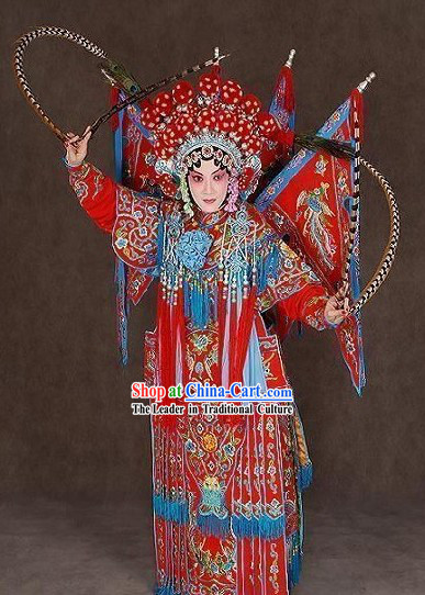 Beijing Opera Mu Guiying Armor Da Kao Costume and Hat Complete Set