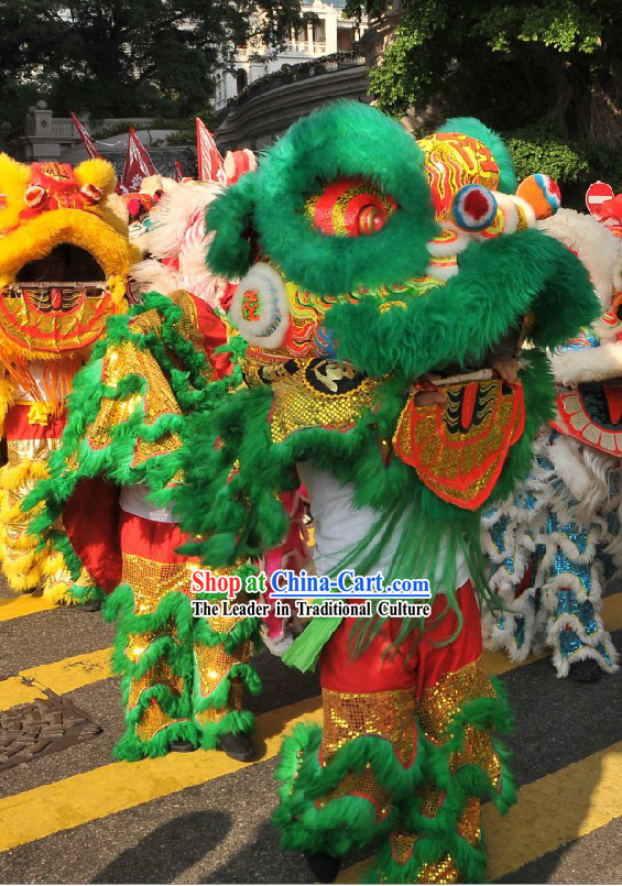 Professional Competition and Parade Top Wool Lion Dance Costumes Complete Set