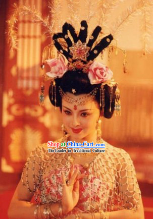Ancient Style Tang Dynasty Yang Yuhuan Beauty Wig and Headgear