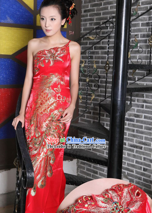 Lucky Red Wedding Evening Dress
