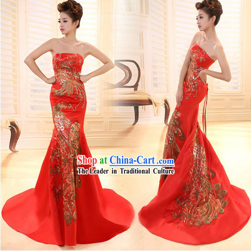Traditional Chinese Long Phoenix Wedding Evening Dress with Tail