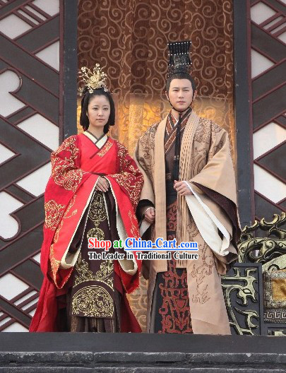 Traditional Chinese Han Emperor and Empress Wedding Dress and Headpieces
