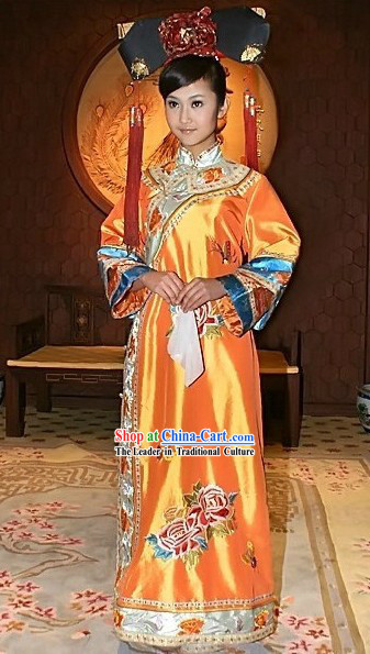Traditional Chinese Qing Princess Costume and Hat