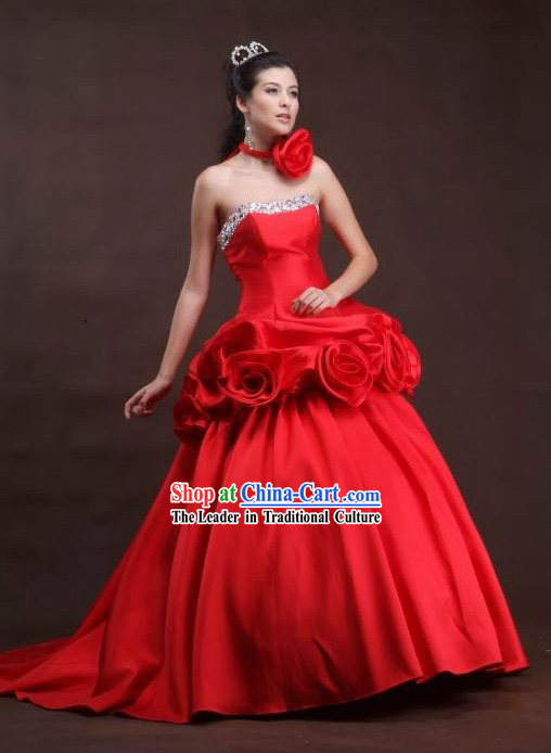 Handmade Chinese Red Wedding Wear and Bride Veil for Brides