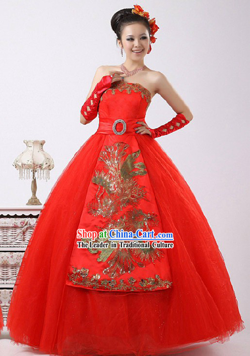 Gorgeous Chinese Lucky Red Phoenix Bride Veil Wedding Dress