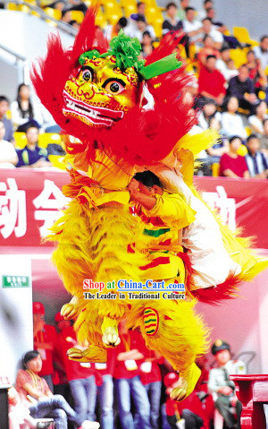 Supreme Long Yak Fur Northern Lion Dance Costume Complete Set