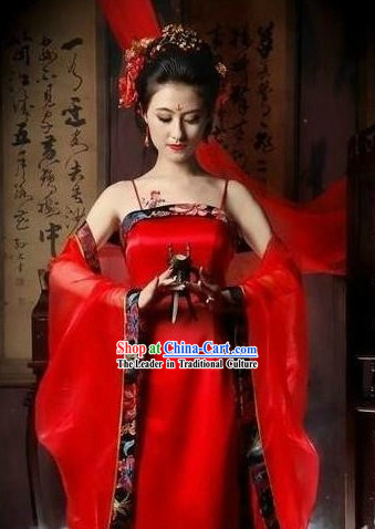 Ancient Chinese Red Guzhuang Costumes for Women