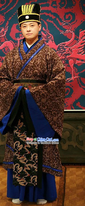 Ancient Chinese Prime Minister Costume and Hat Complete Set