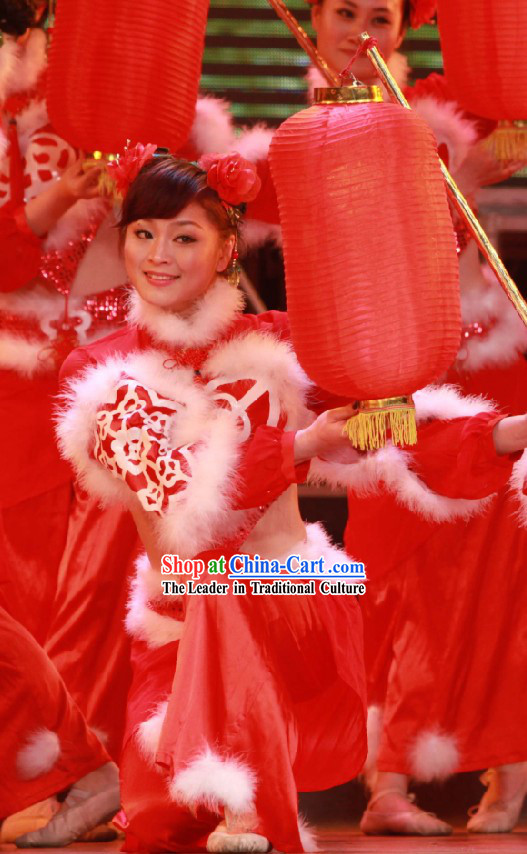 Chinese New Year Lantern Dance Costume Set for Women
