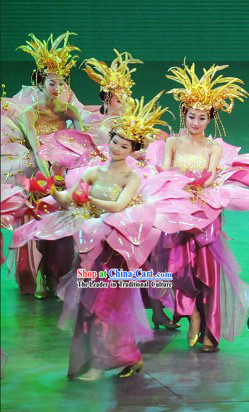Chinese Color Transition Flower Opening Dance Costume and Hair Decoration Set