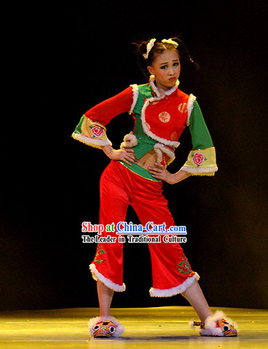 Chinese New Year Children Tiger Dance Costume Set